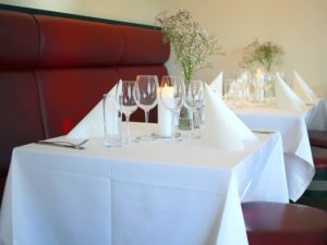 White 100% Cotton Damask Napkins & Table Cloths – Satin Band design