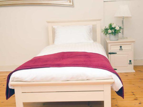 Satin Stipe Duvet Covers with Burgundy Bed Runner
