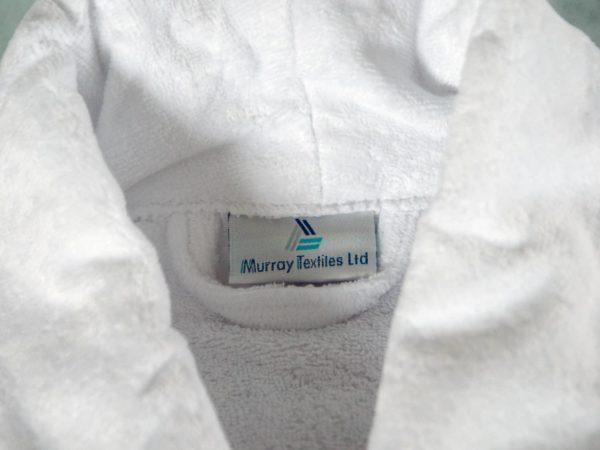 White Cotton Velour Bath Robe with Shawl Collar